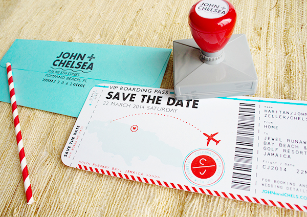 Red Aqua Passport Destination Wedding Invitations Two if by Sea Studios8 Chelsea + Johns Colorful Passport Wedding Invitations