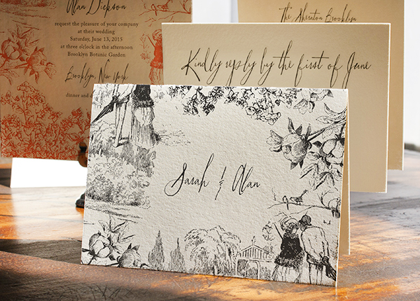 Toile Pattern Wedding Invitations Lucky Luxe Couture Correspondence8 Sarah + Alans Modern Toile Wedding Invitations