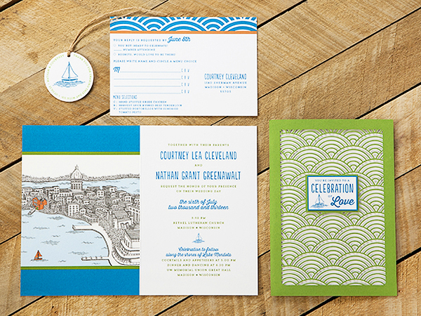 Wisconsin Lake Wedding Invitations Sugar River Stationers3 Courtney + Nates Wisconsin Lake Wedding Invitations