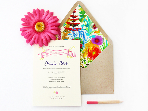 Colorful Floral Bridal Luncheon Invitations Rafftruck Designs Gracies Colorful Bridal Luncheon Invitations