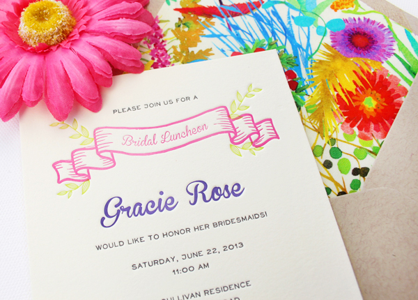 Colorful Floral Bridal Luncheon Invitations Rafftruck Designs2 Gracies Colorful Bridal Luncheon Invitations