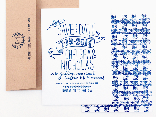 Hand Drawn Gingham Letterpress Save the Dates Robinson Press2 Chelsea + Nicks Hand Drawn Gingham Save the Dates
