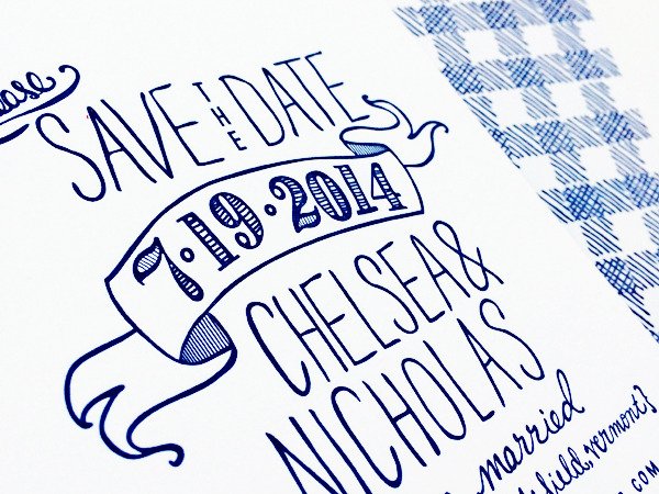 Hand Drawn Gingham Letterpress Save the Dates Robinson Press8 Chelsea + Nicks Hand Drawn Gingham Save the Dates