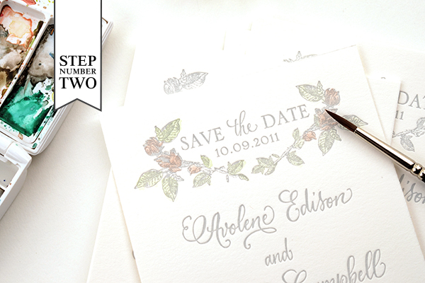 Hand tinted Save the Date Step2 DIY Tutorial: Hand Tinted Letterpress Save the Dates