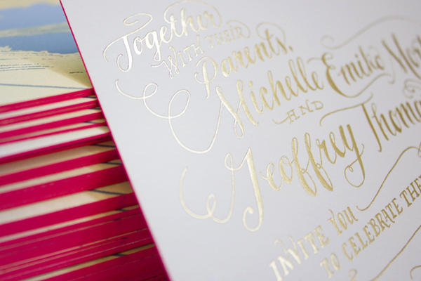 Neon Gold Foil Hand Lettered Wedding Invitations Ladyfingers Letterpress4 Michelle + Geoffs Gold Foil Hand Lettered Wedding Invitations