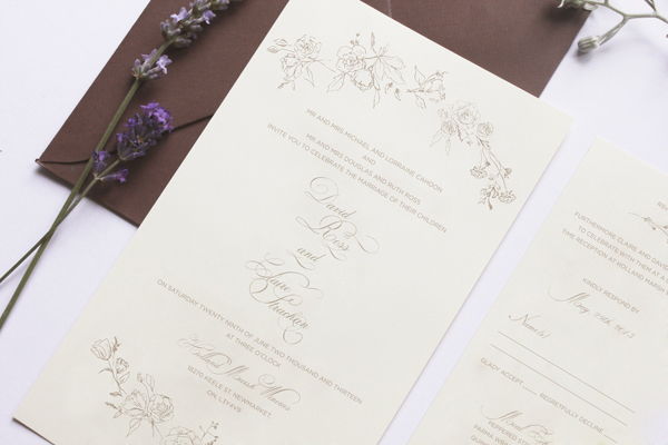 Romantic Floral Wedding Invitations Belinda Love Lee2 Claire + Davids Romantic Floral Wedding Invitations