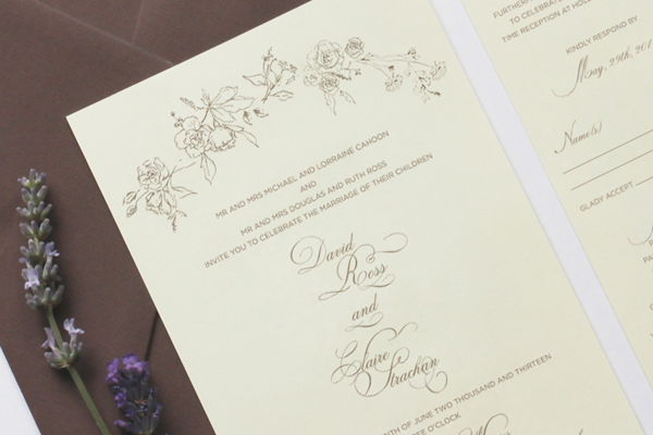 Romantic Floral Wedding Invitations Belinda Love Lee5 Claire + Davids Romantic Floral Wedding Invitations