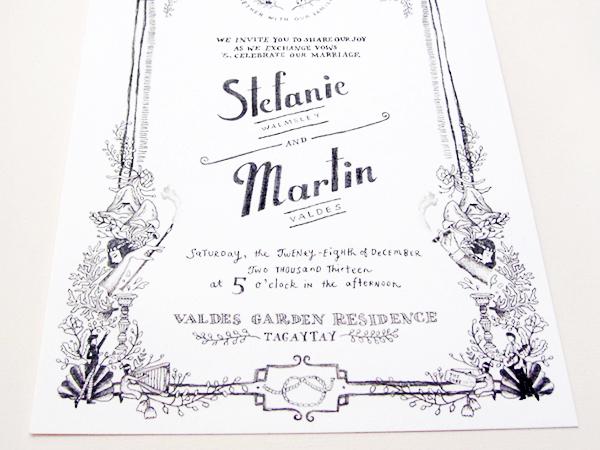 Whimsical Black White Illustrated Wedding Invitations Paulina Ortega Stefanie + Martins Whimsical Illustrated Wedding Invitations