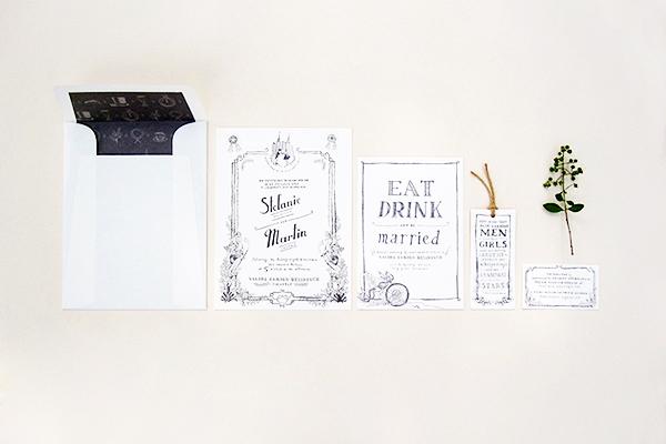 Whimsical Black White Illustrated Wedding Invitations Paulina Ortega4 Stefanie + Martins Whimsical Illustrated Wedding Invitations