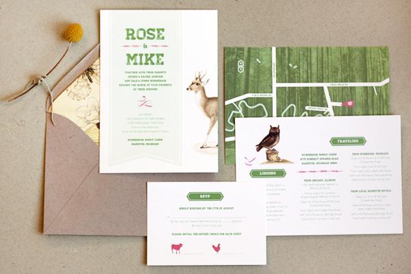 Woodland Wedding Invitations Frances Close Rose + Mikes Woodland Wedding Invitations