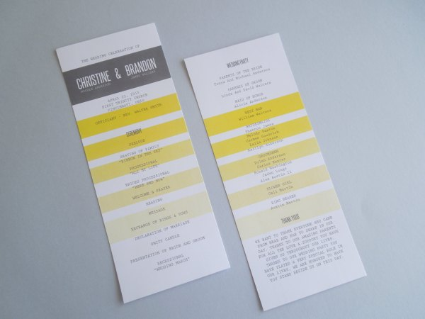 Yellow Wedding Program InvitedToo 600x450 Wedding Stationery Inspiration: Sunshine Yellow