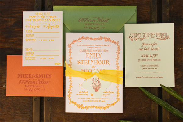 Hand Lettered Wedding Invitations Ladyfingers Letterpress OSBP Emily + Mikes Desert Botanical Wedding Invitations