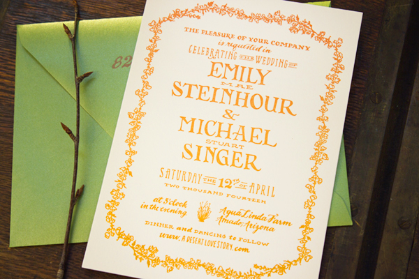 Hand Lettered Wedding Invitations Ladyfingers Letterpress OSBP3 Emily + Mikes Desert Botanical Wedding Invitations