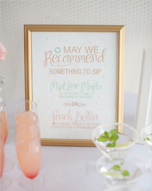 Pastel Drink Menu Kim Roach Designs Rachel Peters Photography Wedding Stationery Inspiration: Pastels