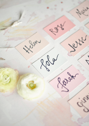 Pastel Escort Cards Erica Loesing Harwell Photography1 Wedding Stationery Inspiration: Pastels