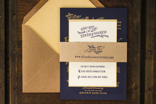 Rustic Elegant Letterpress Gold Foil Wedding Invitations Ladyfingers Letterpress Kate + Alexs Elegant Rustic Wedding Invitations