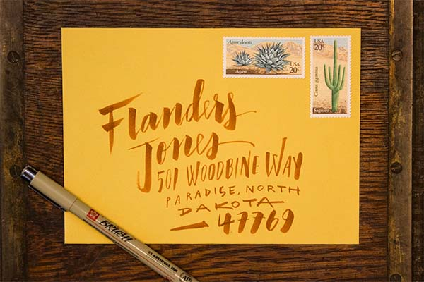 Hand Lettering Envelope Address Tutorial Ladyfingers Letterpress OSBP3 Envelope Address Hand Lettering Tutorial from Ladyfingers Letterpress