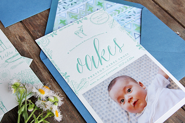 Letterpress Baby Announcement Ideas Tenn Hens Designs OSBP4 Oakess Nature Inspired Letterpress Baby Announcements