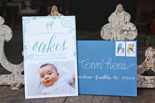 Letterpress Baby Announcement Ideas Tenn Hens Designs OSBP7 Oakess Nature Inspired Letterpress Baby Announcements