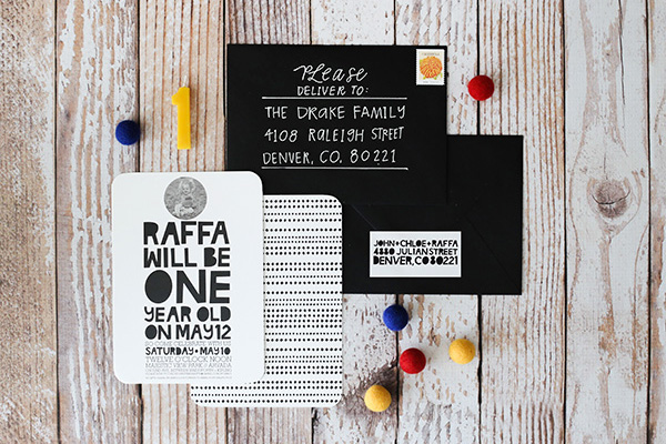 Modern Black White First Birthday Party Invitation Hello There Design OSBP2 Raffas Modern First Birthday Party Invitations