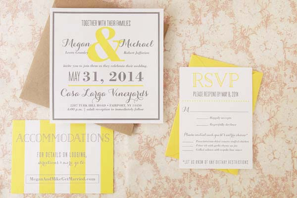 Modern Yellow Wedding Invitations Sugar and Type OSBP Megan + Mikes Rustic Modern Yellow Wedding Invitations