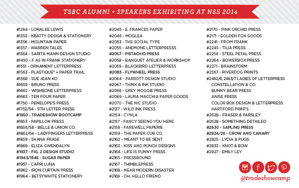 NSS 2014 Tradeshow Bootcamp Booth Roster NSS 2014: Tradeshow Bootcamp (+ New Website!)