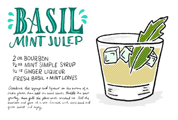 Signature Cocktail Recipe Card Basil Mint Julep Shauna Lynn Illustration OSBP Friday Happy Hour: The Basil Mint Julep
