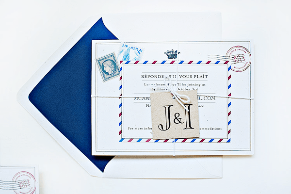 Airmail Wedding Invitations Suite Paperie OSBP4 Jennifer + Iskanders Bilingual Airmail Wedding Invitations