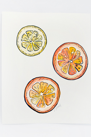 Courtney Khail Watercolor Painting OSBP Citrus Quick Pick: Courtney Khail Watercolor Stationery