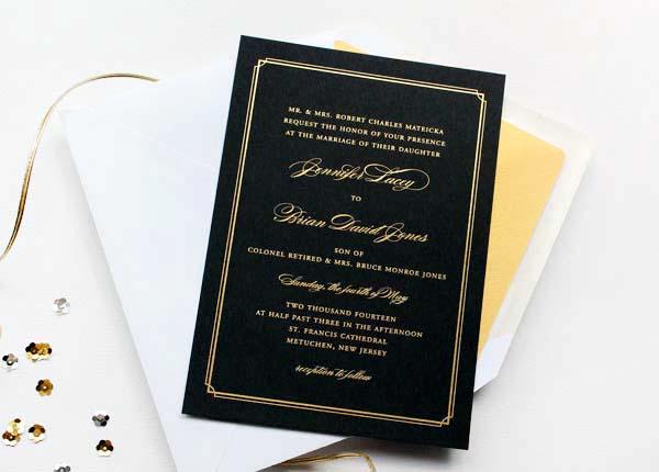 Gold Foil Black Wedding Invitations Sandra Picco Design OSBP1 Jennifer + Brians Gold Foil and Black Wedding Invitations