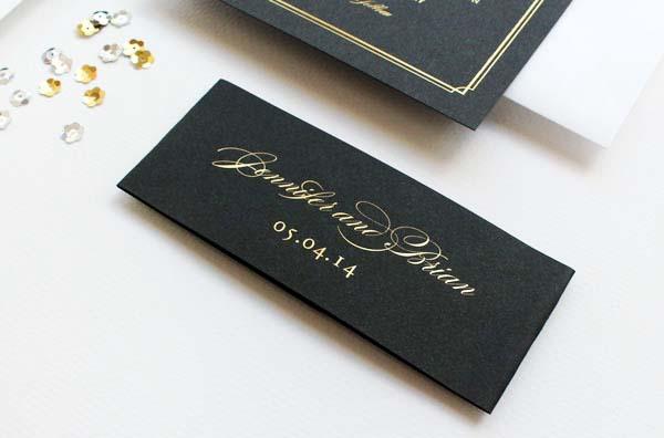 Gold Foil Black Wedding Invitations Sandra Picco Design OSBP7 Jennifer + Brians Gold Foil and Black Wedding Invitations