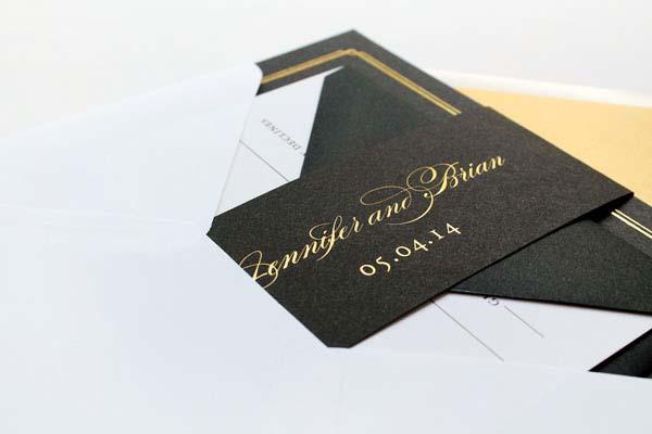 Gold Foil Black Wedding Invitations Sandra Picco Design OSBP8 Jennifer + Brians Gold Foil and Black Wedding Invitations