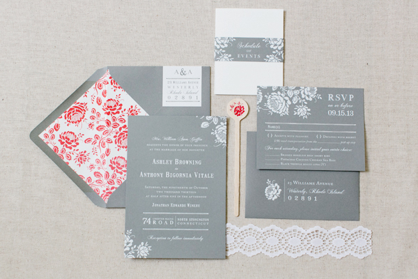 Gray White Foil Floral Wedding Invitations Paper Moss OSBP Ashley + Anthonys Gray and White Foil Wedding Invitations