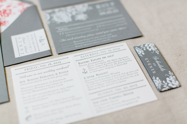Gray White Foil Floral Wedding Invitations Paper Moss OSBP4 Ashley + Anthonys Gray and White Foil Wedding Invitations