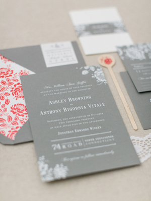 Gray White Foil Floral Wedding Invitations Paper Moss OSBP6 Ashley + Anthonys Gray and White Foil Wedding Invitations