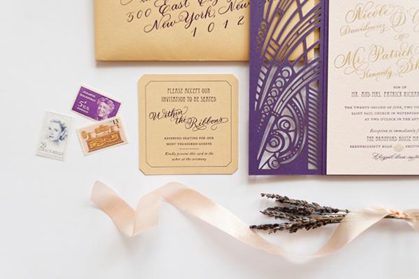 Lasercut Great Gatsby Wedding Invitations Coral Pheasant OSBP3 Nicole + Patricks Vintage Inspired Lasercut Wedding Invitations