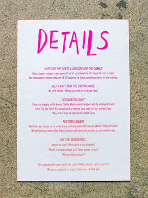 Ombre Screen Printed Poster Wedding Invitations Ngiao Parr OSBP6 Ngaio + Julians Hand Lettered Ombre Wedding Invitations