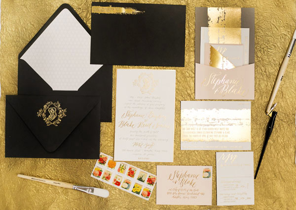 Painterly Gold Foil Wedding Invitations Stephanie + Blakes Painterly Gold Foil Wedding Invitations
