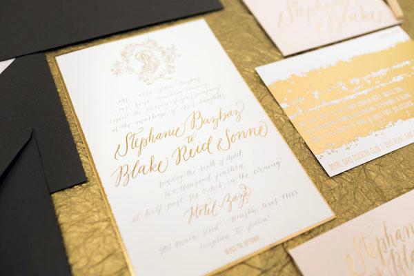 Painterly Gold Foil Wedding Invitations3 Stephanie + Blakes Painterly Gold Foil Wedding Invitations