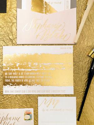 Painterly Gold Foil Wedding Invitations9 Stephanie + Blakes Painterly Gold Foil Wedding Invitations