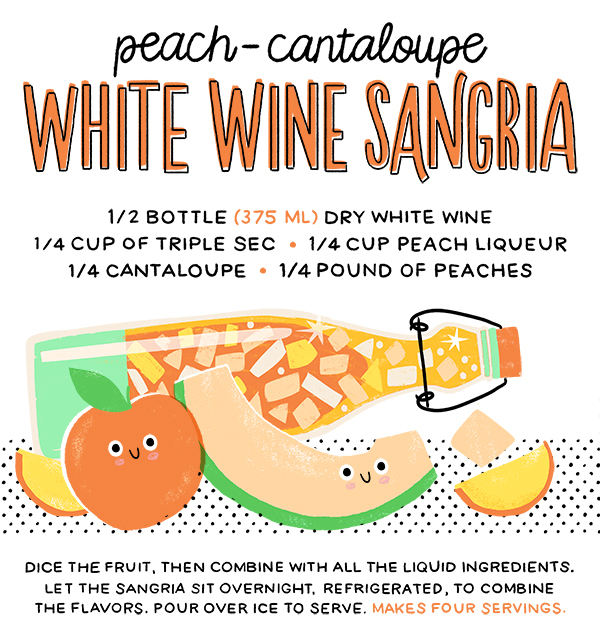 Peach Cantaloupe White Wine Sangria Recipe Card Hooray Today for Oh So Beautiful Paper Summer Cocktail Series: Cocktail Picnic Party Recipes