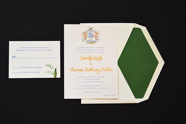 Watercolor Gold Foil Crest Wedding Invitations Roseville Designs OSBP Jennifer + Barrons Gold Foil Watercolor Crest Wedding Invitations