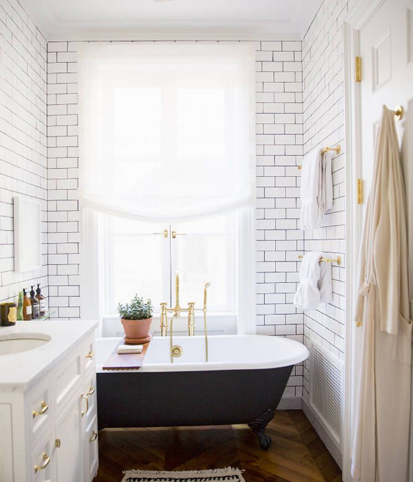 Ali Cayne Subway Tile Bathroom Domino OSBP at Home: Small Bathroom Renovation Inspiration
