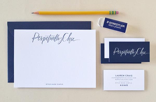 Blue White Calligraphy Letterpress Stationery Studio SloMo OSBP Perpetually Chics Letterpress + Calligraphy Business Stationery