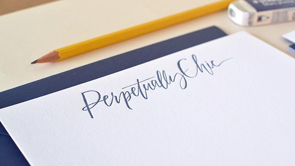 Blue White Calligraphy Letterpress Stationery Studio SloMo OSBP2 Perpetually Chics Letterpress + Calligraphy Business Stationery