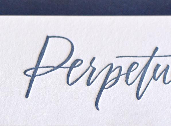 Blue White Calligraphy Letterpress Stationery Studio SloMo OSBP5 Perpetually Chics Letterpress + Calligraphy Business Stationery