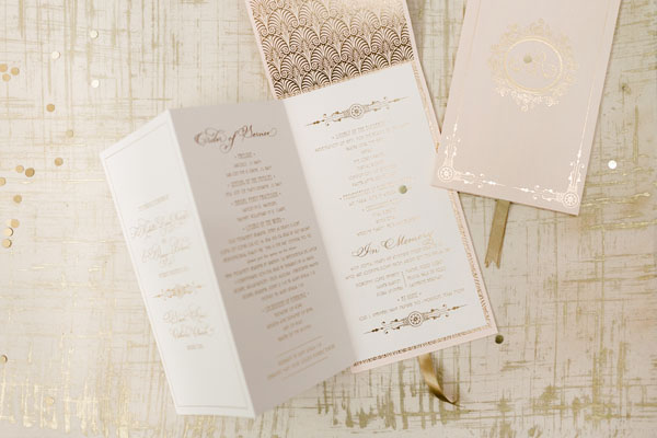 Elegant Gold Foil Blush Pink Wedding Invitations Papellerie OSBP12 Michelle + Renzos Elegant Gold Foil Wedding Invitations