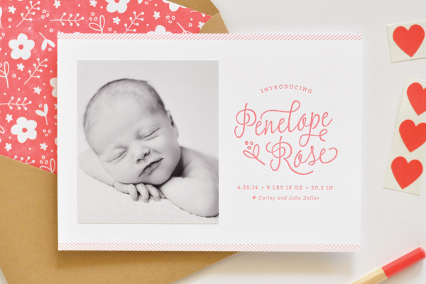 Floral Letterpress Baby Announcements Lauren Chism OSBP2 Penelopes Floral Letterpress Baby Announcements