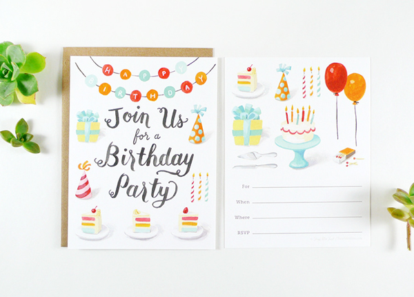 Four Wet Feet Illustrated Fill In Party Invitations Birthday Quick Pick: Four Wet Feet