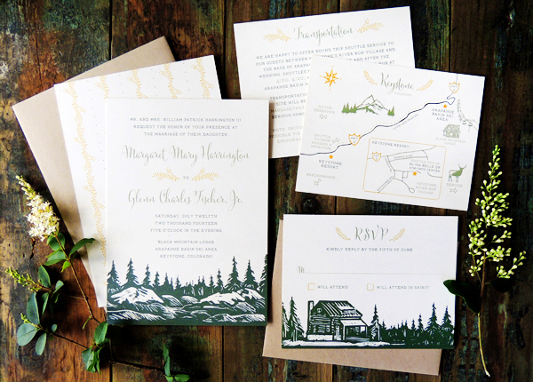 Mountain Evergreen Wedding Invitations Harken Press Margaret + Glenns Mountain Inspired Wedding Invitations